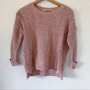 Madewell Pink Multicolor Cotton Blend Knit Sweater